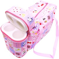 Babyofjoy Toy Checks Print With Warmer Tote Tote Diaper Bag And Bottle Warmer Attached (Pink)