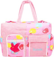 Ole Baby Big Multi-Utility Amazing Apple And Checkered Fabric Diaper Bag (Pink)