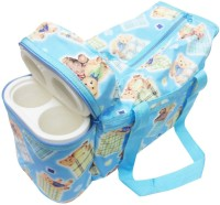 Babyofjoy Cute Teddy Print Tote Diaper Bag And Bottle Warmer Attached (Blue)