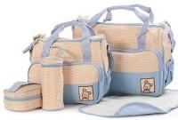 Sanghvi Enterprises Baby Bucket 5pcs/set Baby Diaper Bag Nappy Mummy Bag Print Maternity Handbag Changing Baby Messenger Bag Diaper Bag (Light Blue)