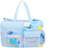 Ole Baby Big Multi-Utility Amazing Apple And Checkered Fabric Diaper Bag (Blue)