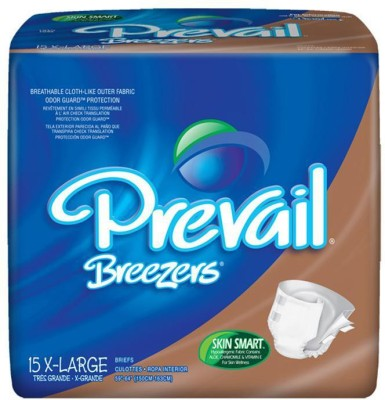 Prevail Breezers Adult Diapers - Waist Size 59 To 64 Inches - X-Large (15 Pieces)