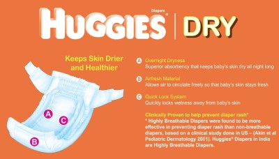 Huggies New Dry Diaper - Medium (62 Pieces)