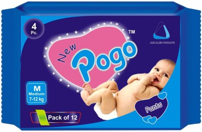New Pogo DIAPER PANTS - Pack of 4(Set of 12) - MEDIUM (48 Pieces)