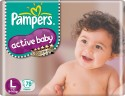 Pampers Active Baby Diapers Taped L Size (Large) 78 Pads: Diaper