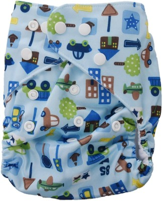 Baby Bucket All-In-One Bottom-bumpers Cloth Diaper (Printed Blue) - Medium (1 Pieces)