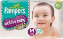 Pampers Active Baby Diapers Taped M Size (Medium) 42 Pads - 42 Pieces