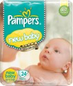 Pampers New baby Diapers Taped NB Size (Newborn) 24 Pads - 24 Pieces