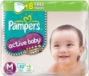 Pampers Active Baby Diapers Taped M Size (Medium) 90 Pads - 90 Pieces