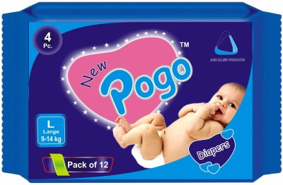 New Pogo DIAPERS - Pack of 4(Set of 12) - LARGE (48 Pieces)