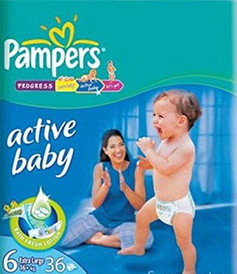 PAMPERS ACTIVE BABY DIAPERS (6) - LXXL - 36 (16KG) (UAE) - XL (36 Pieces)
