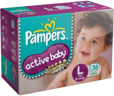 Baby Bucket Pampers Active Baby Diapers Taped - Large (36 Pieces)