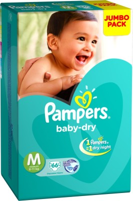Pampers Diaper Taped Medium Size (66 Pieces)