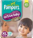 Pampers Active Baby Diapers Taped E Size (Extra Large) 32 Pads - 32 Pieces