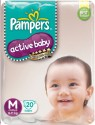 Pampers Active Baby Diapers Taped M Size (Medium) 20 Pads - 20 Pieces