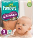 Pampers Active Baby Diapers Taped S Size (Small) 22 Pads - 22 Pieces