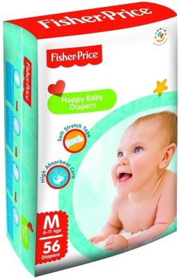 FisherPrice Happy Baby Diapers - Medium - (6-11 Kgs) (56 Pieces)