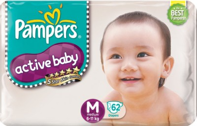 Pampers Active Baby Diapers Taped Medium Size (90 Pieces)