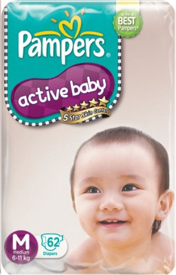 Pampers Active Baby Taped M Size at Rs 11.2 Per Diaper - Flipkart