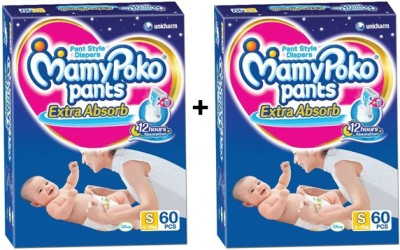 MAMY POKO EXTRA ABSORB PANT STYLE DIAPERS - SMALL 60 (60 Pieces)