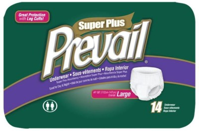Prevail Super Plus Disposable Underwear - Size 44 To 58 Inches - Large (14 Pieces)