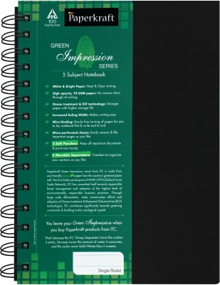 Buy Paperkraft Green Impression 5 Subject A5 Notebook Spiral Bound: Diary Notebook