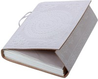 Store Indya Gorgeous White Hand Embossed Leather Diary With A Thread Closure Regular Journal Hard Bound (White)