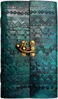 Indiavibes Handcrafted Turquoise Chapma Embossed Leather Journal/Notebook With C-Lock Regular Journal Hand Sewn (Turquoise Chapma)