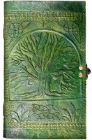 Indiavibes Handcrafted Moss Green Tree Of Life Embossed Leather Journal/Notebook With C-Lock Regular Journal Hand Sewn (Moss Green)