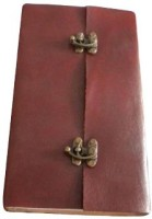 7craft Handmade Plain Leather Cover Diary-2 Lock Closure-Euro Binding Size 20x15x2.5 Cm Brown Regular Journal Hard Bound (Brown)