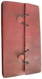 7craft Handmade Plain Leather Cover Diary-2 Button Closure-Pasted Binding Size 25x18x2.5 Cm Brown Regular Journal Hard Bound
