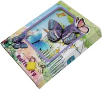 Scrazy Beautiful Butterfly Diary With Lock & Key Regular Gift Set Hard Bound (Multi-color)