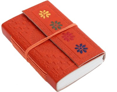 Store Indya Hand Crafted Leather Cover Flap With Floral Motifs Regular Journal Hard Bound (Orange)