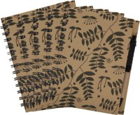 Easyhome Recycled Paper Handmade 5 Pcs Set A5 Notebook Ring Bound (Brown, Pack Of 5)