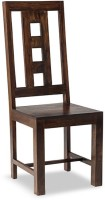 Smart Choice Furniture Wooden Back Unique Box Design Solid Wood Dining Chair (Set Of 1, Finish Color - WalnutBrown)