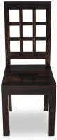 Smart Choice Furniture Unique Checks Design Simple Modern Solid Wood Dining Chair (Set Of 1, Finish Color - Walnut)