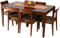 Godrej Interio Saturn Solid Wood Dining Set (Finish Color - Dark Walnut)