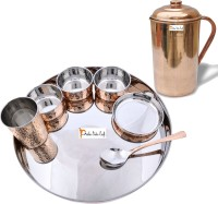 Prisha India Craft Indian Traditional Dinnerware Stainless Steel Copperware Thali Set - Diameter 13 Inch - Diwali Gift Pack Of 8 Dinner Set (Copper)