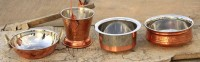King Traders TULSI - Copper Set Of 4pcs Copper Kadhai/Copper Serving Bucket/Copper Bottom Boilers And Copper Handi Dinner Set (Copper)