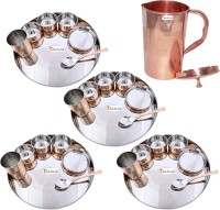 Prisha India Craft Indian Traditional Dinnerware Stainless Steel Copperware Thali ,Set Of 4 - Diameter 13 Inch - Diwali Gift Pack Of 29 Dinner Set (Copper) - DNSEG7TSPZJCF3KQ