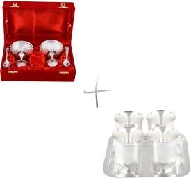 GS Museum Silver Plated 2 Ice Cream Mug and Juli Diamond Glass Set Silver Plated Decorative Platter