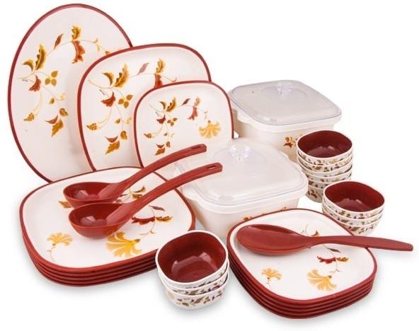 Nayasa square rust pack of 32 dinner set price in india for Kitchen set on flipkart