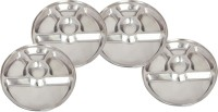 King Traders TULSI -Stainless Steel Five Compartment Dinner Plate/Mess Plate/Party Plate/Snack Plate/Gurudwara Plate-32.8 Cm Set Of 4pcs Dinner Set (Stainless Steel)