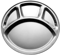 King Traders TULSI -Stainless Steel Four Compartment Round Plate / Thali/ Mess Tray/ Dinner Plate Set Of 1 Pcs- 33.5 Cm Each Dinner Set (Stainless Steel)