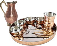 Dungri India Craft Stainless Steel Copper Traditional Dinner Set Of Thali Set (Dinner Plate, Cutlery, Bowls, And Glass) With Mughal Pitcher Jug Pack Of 11 Dinner Set (Copper)