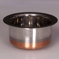 King Traders TULSI - Traditional Designer Stainless Steel Copper Bottom Pot/ Boiler/ Patila- Large Dinner Set (Copper)