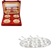 Silver Wilver Silver Plated Bowl Set Glass Set Pooja Plate And Articles Dealer Silver Wilver Silver & Gold Plated 4 Heavy Flower Bowl And Manchurian Bowl Set With Spoons Pack Of 22 Dinner Set (Silver Plated)