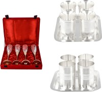 Silver Wilver 4 Queen Vine Glass, Juli Diamond Glass And Amrapali Glass Set Pack Of 14 Dinner Set (Silver Plated)