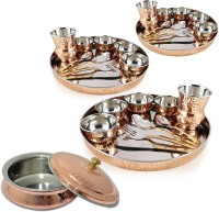 Dungri India Craft Dinner Set Of 3 - Thali Set (Dinner Plate, Cutlery, Bowls, And Glass) With 1 Serving Bowl Tureen Pack Of 31 Dinner Set (Copper)