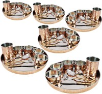 Dungri India Craft Dinnerware Set, Service For 6, Inner Stainless Steel Large Dinner Plate, Cutlery, Bowls, And Glass ( 6 Thaliset ) Pack Of 60 Dinner Set (Copper)
